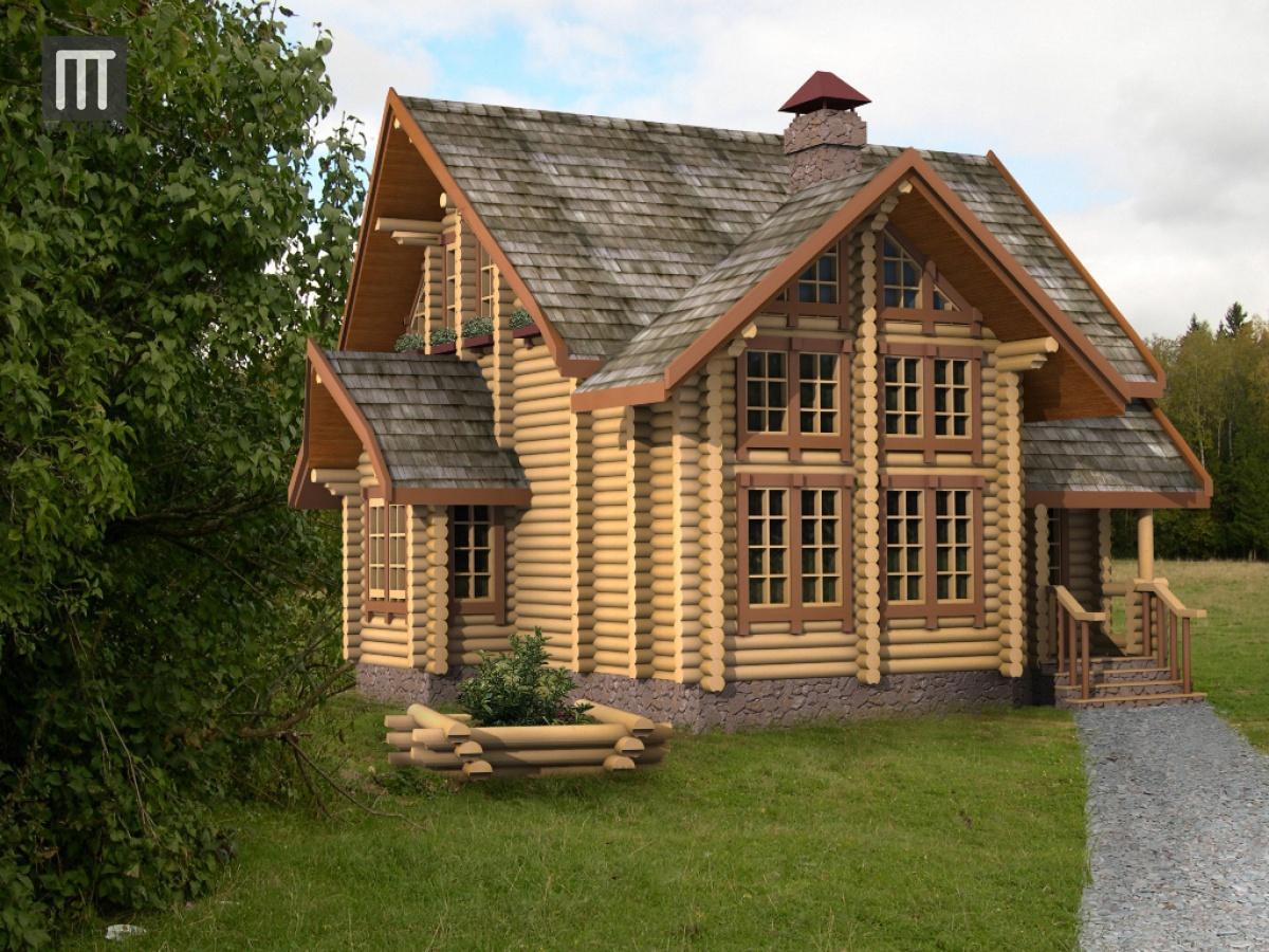 Проект дома из оцилиндрованного бревна Арго