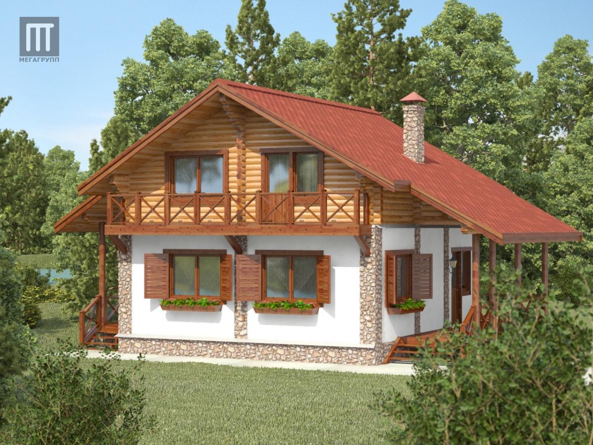 """1) Загородный дом  """"Шале """" с верандой и навесом для автомобиля на участке 118, 95, 64, 57.  Дом в стиле шале - это дом..."""